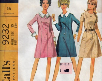 Vintage Sewing Pattern McCall's 9232 Seven Panel DRESS in 2 Versions
