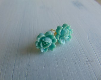 Turquoise Roses Earrings