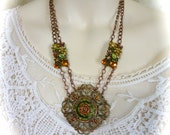 Neo-Victorian Pendant Necklace Double Strand in Autumn Leaves Colors