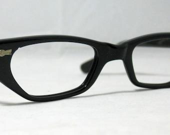 Vintage 50s Cat Eye Glasses. Black Half Lens Reading Cat Eye Frames