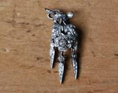 Victorian 1840s Naturalistic botanical pavé diamond floral pendant ∙ Antique old cut diamond pendant