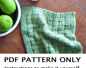 Knitting Pattern - Dishcloth Pattern - Knitted Washcloth Pattern - Grass Green Dishcloth - Basketweave Dishcloth Pattern the MADGE dishcloth