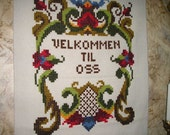 Nice Country Welcome/Scandinavian Swedish Style Folk Art Embroidered,Weaving,Tapestry/Knotted Wall Hanging Mint.