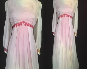 1970s Tie Dyed Vintage Floor Length Dress -ooak - Prom, Halloween, Special Occasion - Large Extra Large