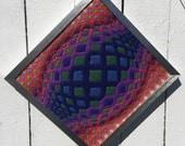 ABSTRACT FIBER ART  Needlework Chrome Frame Geometric Design, Mid Century Modern Needlepoint Abstract Needlepoint  at Modern Logic