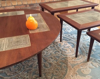 MID CENTURY COFFEE Table With Set of Nesting Tables, Egyptian, Danish Modern, Mid Century Modern Coffee Table Plus at Modern Logic