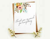 Floral Wedding Thank you card. Thank you so much Card. Bridal Thank you.  TK488