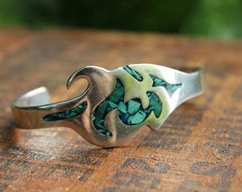 Sterling Silver Green Turquoise  Bracelet Vintage