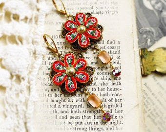 Roses of Rome,Vintage 1940 Red &Pink Floral Micro Mosaic, Vintage Red and Pink Rhinestone Altered Assemblage Earrings HollywoodHillbilly