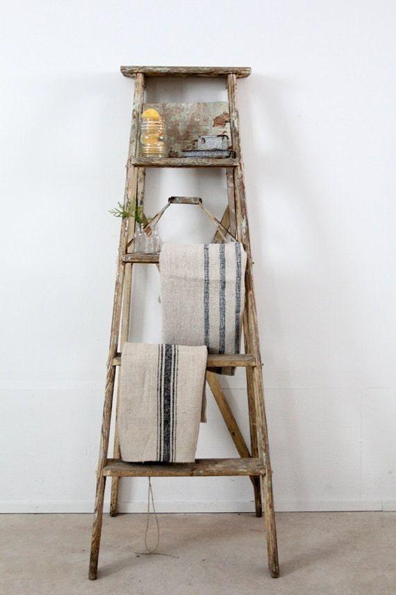 Vintage Wooden Painter S Ladder 6 Feet Tall Paint Patina