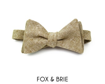 Natural Linen Chambray Bow Tie