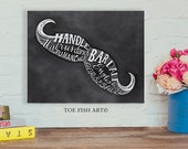 Mustache Sign - Types of Mustaches Chalk Art Print on Wood - Hand Lettered  Word Art Wall Decor Sign