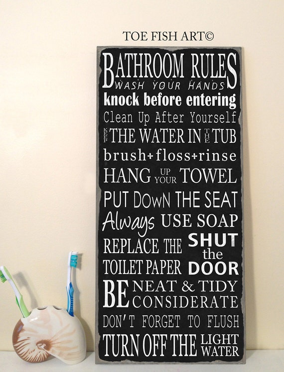 SALE Use Promo Code SPRING for 20% Off!  BATHROOM Rules Hand Lettered Typography Sign on Wood