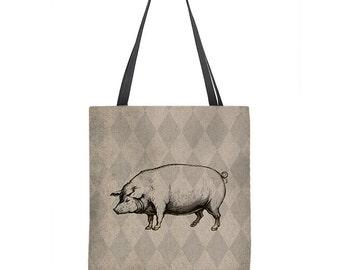 Pig Tote Bag, hog tote bag, market bag, pig bag, shopping bag, beach tote, tan tote bag, book bag, gift for her, carryall