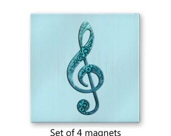 Music magnets, treble clef magnets, refrigerator magnets, fridge magnet set, set of 4 decorative magnets, kitchen decor, aqua