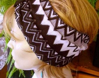 womens Headband extra Wide Headband black and white grey chevron  Comfortable Yoga turband