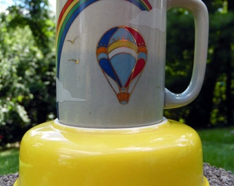 Vintage 70's Rainbow Coffee Mug Gold Detail to Boarders Rainbow Patterned Hot Air Ballon Clods and Birds