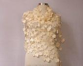 Crochet Shawl Flower, Ivory Bridal Shawl, Lace Shawl, Bridal Shrug Bolero, Wedding Shawl Bridal Cover Up, Black Evening Shawl, Bridal Wrap
