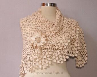 Ivory Shawl Wrap, Bridal Shrug Bolero, Crochet Shawl, Wedding Lace Shawl, Cape, Linen Lace Scarf, Wedding Cover Up, Bride Wrap, Flower Shawl