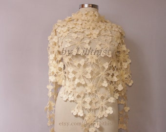 Ivory Shawl Wrap, Crochet Shawl, Wedding Bridal Shawl, Lace Shawl, Bridal Shrug Bolero, Cover Up, Black Evening Shawl, Gift For Women