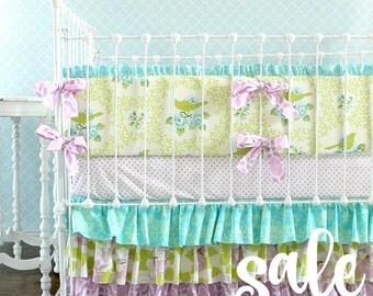 SALE* Lavender Turquoise Mockingbird Crib Bedding Set  Ready To Ship!