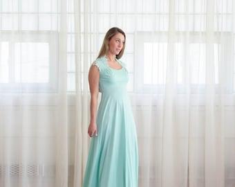 1970s Gown - Vintage 70s Seafoam Green Dress - Augusta Maxi Dress