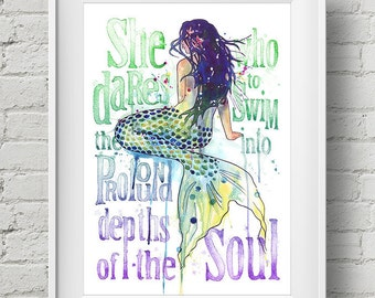 Mermaid - Profound Depths : print mermaid saying beach quote watercolor painting