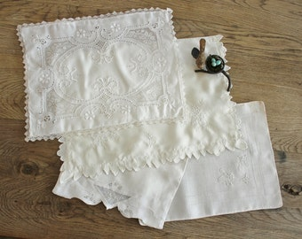 4 Antique Embroidered White Cutwork and Lace Boudoir Christening Pillow Covers
