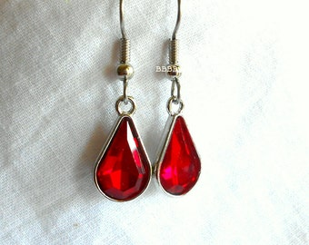 Red Earrings Rhinestone Earrings Garnet Earrings Teardrop Earrings Bezelled Earrings January Earrings Birthstone Earrings