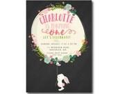1st Birthday Invitation. Chalkboard Invitation Rabbit and Balloon, Floral Girl Birthday Invitation,  First Birthday, Printable, Gingham 1536