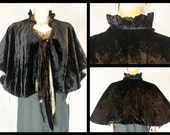 1920s Silk Cape. Black Silk Panne Velvet with silk crepe lining and gold bullion trim. 20s 30s.