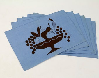 Vintage Linen / Midcentury Modern Design / Linen Placemats / Linen Napkins / Set of 6 / Blue Linen Fruit Bowl Design