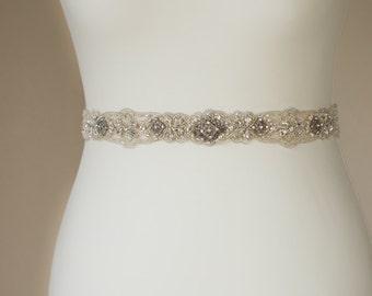 Wedding dress sash, Wedding sash, Bridal sashes belts, Crystal wedding, Vintage wedding, Narrow belt, Thin sash belt