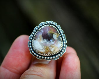 Mali Ring - Amethyst with Citrine, Recycled Sterling, Fine Silver - Talisman, Balinese, Wide Band, Gypsy, Zen, Asian, Lotus, Island Inspired