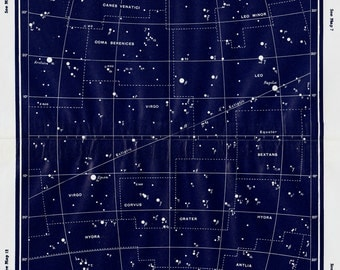 1950 Large Vintage STARS MAP print, Constellations, vintage astronomy