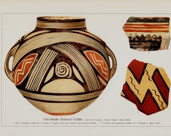 1911 Antique print of Greek pottery, terracotta, fine color lithograph