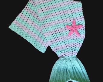 Mermaid Tail Blanket -- Ready to Ship -- Crochet Afghan