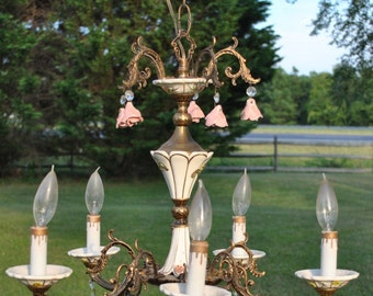 Vintage Brass and Capodimonte 5 Arm Chandelier Spain