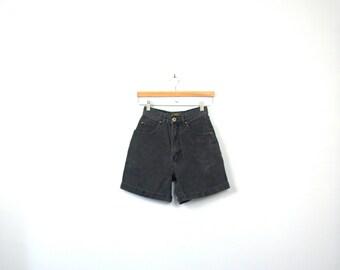 Vintage 80's high waisted black denim shorts, size 3 / 4