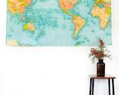 WORLD MAP wall chart XL / vintage school chart /world map vintage fabric/ world map wall hanging / 57 inches / 145cm long x 36inches/92cms