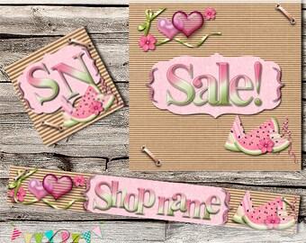 Etsy Shop Set - Premade Etsy Banner - Etsy Cover - Etsy Shop Banner - Etsy Shop Icon - Avatar - Candy Melon