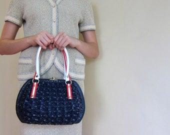 Vintage 1950s Basket Purse in Navy Blue Red White Wicker / 50s Handbag Hong Kong