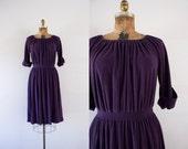 1970s Plum Tree simplistic terry cloth dress / 70s deep purple