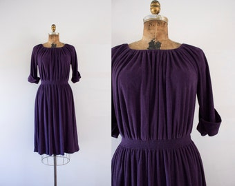1970s Plum Tree simplistic terry cloth dress / 70s deep purple