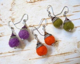 Small Orange, Purple and Olive Green Felt Acorn Earrings (2319)