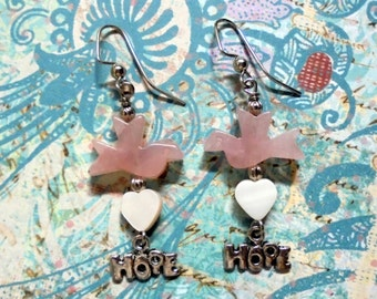 "Pink ""Dove of Hope"" Earrings (0823)"