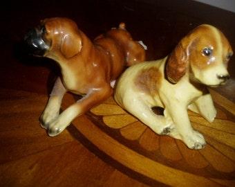 Vintage Two Morten Studio Boxer & Spaniel Dog Figures
