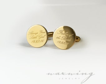 Father of the Bride Cuff links Engraved in Gold Plated or Stainless Steel Custom Personalized Cufflinks Always Your Girl Wedding Date