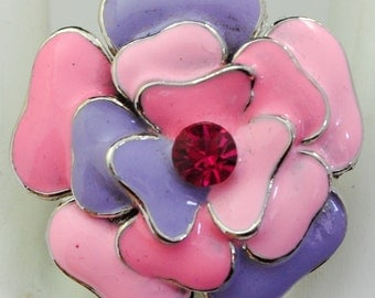 Pastel Flower Ring/Statement Ring/Shades of Pink/Violet/Rhinestone/Spring/Summer Jewelry/Colorful/Adjustable/Under 15 USD