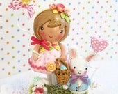 Ready to Mail Today~Cake Topper~ Little Girl~ Easter or Spring Birthday Party~Bunny Rabbit~Pink~Paper Clay~Wooden~ Whimsical~ Smash~Nursery